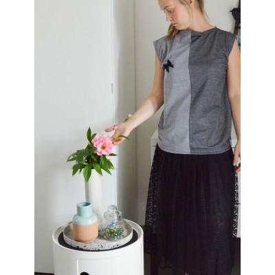 Blusa bicolor • grigio...