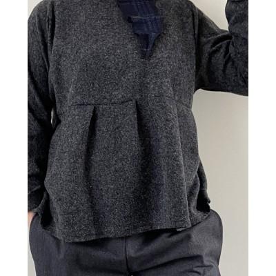 Blusa in lana • Blu/Grigio...